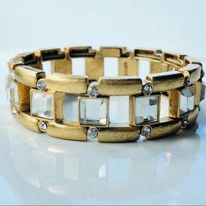 J. Crew Antiqued Gold Tone Stretch Bracelet